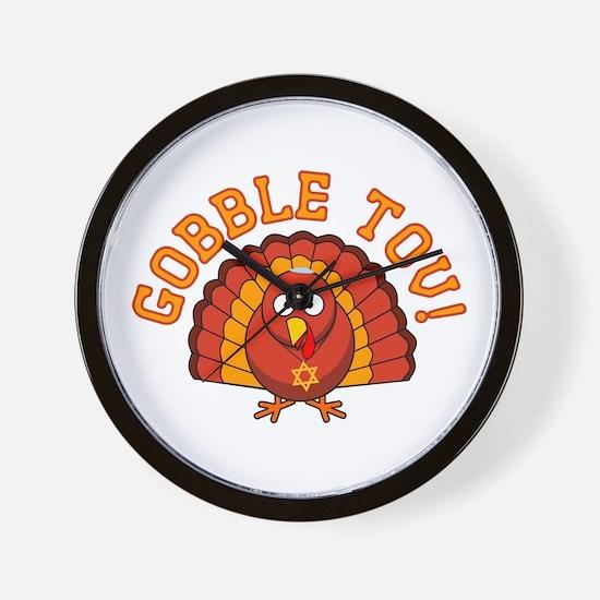Gobble Tov Thanksgivukkah Turkey Wall Clock