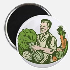 Organic Farmer Green Grocer With Vegetables Magnet