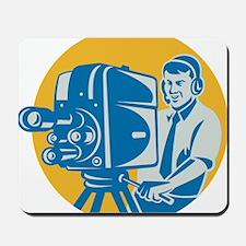 Film  Crew TV Cameraman With Movie Camer Mousepad