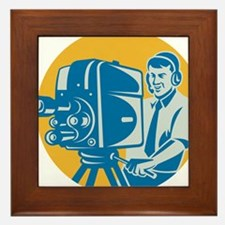 Film  Crew TV Cameraman With Movie Cam Framed Tile