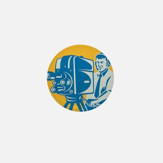 Film  Crew TV Cameraman With Movie Cam Mini Button