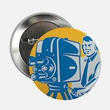 """Film  Crew TV Cameraman With Movie Ca 2.25"""" Button"""
