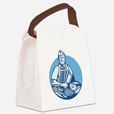 Butcher With Meat Cleaver Meat Cu Canvas Lunch Bag