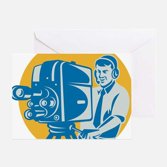 Film  Crew TV Cameraman With Movie C Greeting Card