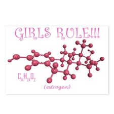 girls rule pink estrogen  Postcards (Package of 8)