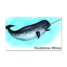 Narwhal Whale Rectangle Car Magnet