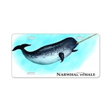 Narwhal Whale Aluminum License Plate