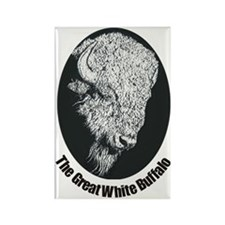 Great White Buffalo Rectangle Magnet