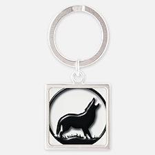 plastic wolf Square Keychain