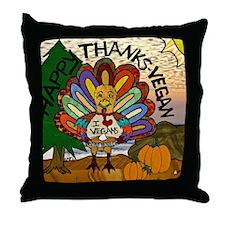 HappyThanksVegan2-2 Throw Pillow