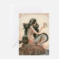 VINTAGE PARISIAN MERMAID SHOWER CURT Greeting Card