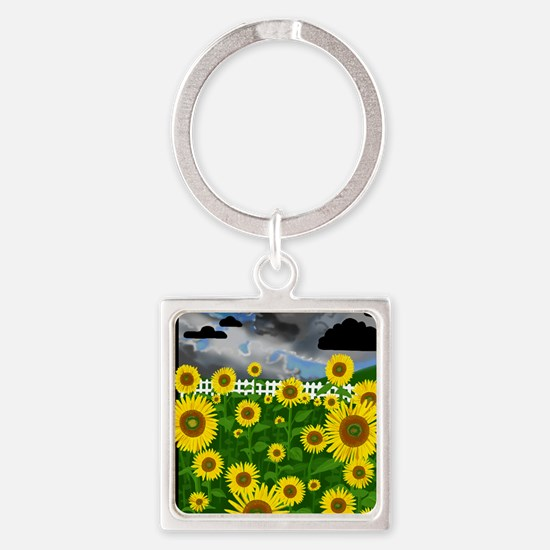 Note Card- Flower Power! Sunflower Square Keychain