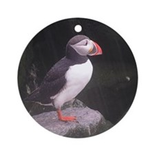 puffin on the rocks Round Ornament