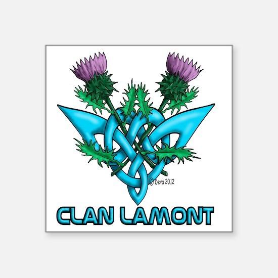 "Thistles Lamont Square Sticker 3"" x 3"""