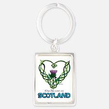 Heart Scotland White Portrait Keychain