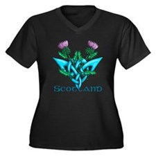 Thistles Sco Women's Plus Size Dark V-Neck T-Shirt
