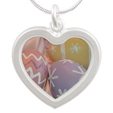 Mom Easter Eggs Silver Heart Necklace