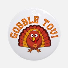 Gobble Tov Thanksgivukkah Turkey Ornament (Round)