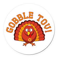 Gobble Tov Thanksgivukkah Turkey Round Car Magnet