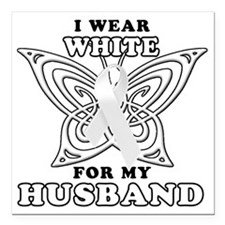 """I Wear White for my Husb Square Car Magnet 3"""" x 3"""""""