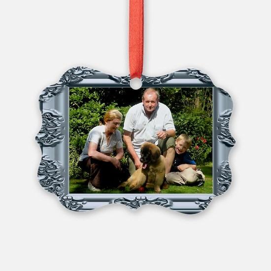 Custom silver baroque framed photo Ornament