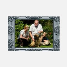 Custom silver baroque framed photo Rectangle Magne