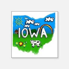 "Iowa Square Sticker 3"" x 3"""