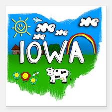 """Iowa Square Car Magnet 3"""" x 3"""""""