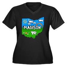 Madison Women's Plus Size Dark V-Neck T-Shirt