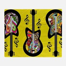 ElectriGuitarsPsychedeliconYellowb Throw Blanket