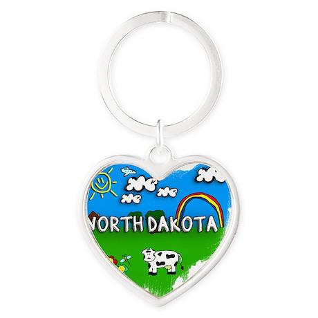 North Dakota Heart Keychain