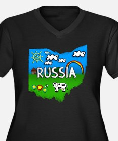 Russia Women's Plus Size Dark V-Neck T-Shirt