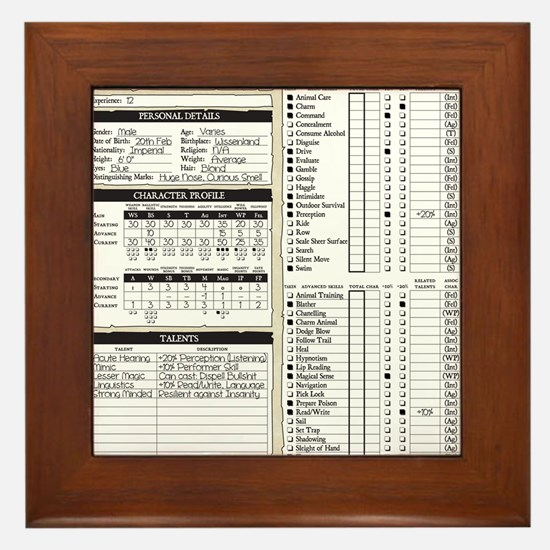 Mr Llamatastic Character Sheet Front Framed Tile