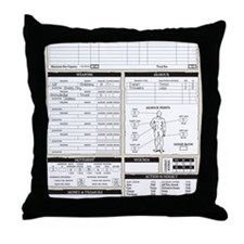Mr Llamatastic Character Sheet Back Throw Pillow