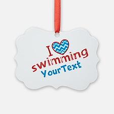 CUSTOMIZE I Love (heart) Swimming Ornament