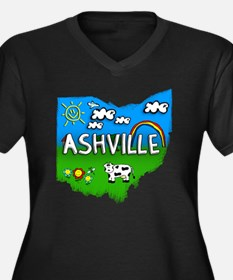 Ashville Women's Plus Size Dark V-Neck T-Shirt