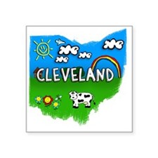 "Cleveland Square Sticker 3"" x 3"""