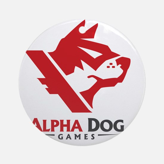 Alpha_Dog_Red_Logo_Front_TShirt Round Ornament