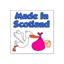 """Made In Scotland Girl Square Sticker 3"""" x 3"""""""