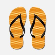 White On Orange Polka Dots Flip Flops