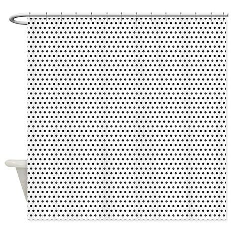 black on white polka dots shower curtain by colorfulpatterns. Black Bedroom Furniture Sets. Home Design Ideas