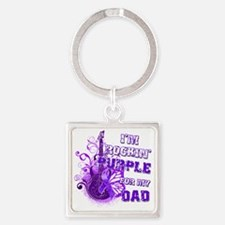 Im Rockin Purple for my Dad Square Keychain