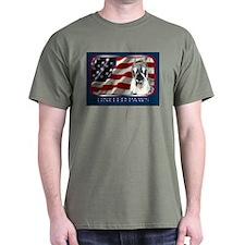 Schnauzer USA Flag Patriotic Dark Colored T-Shirt