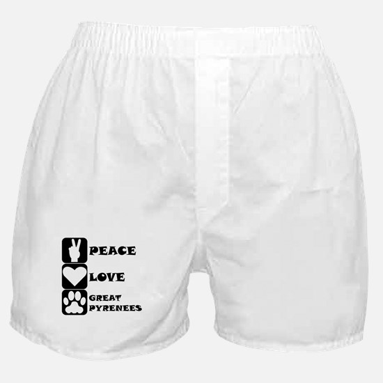 Peace Love Great Pyrenees Boxer Shorts