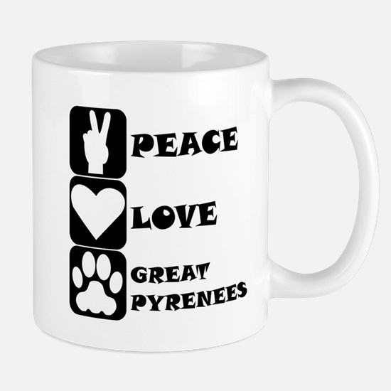 Peace Love Great Pyrenees Mugs