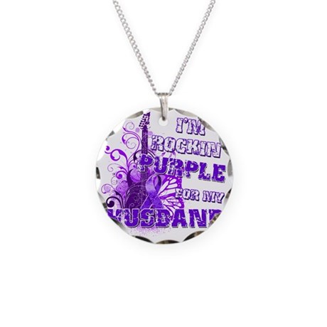 Im Rockin Purple for my Husb Necklace Circle Charm