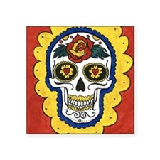 "Love Sugar Skull Square Sticker 3"" x 3"""