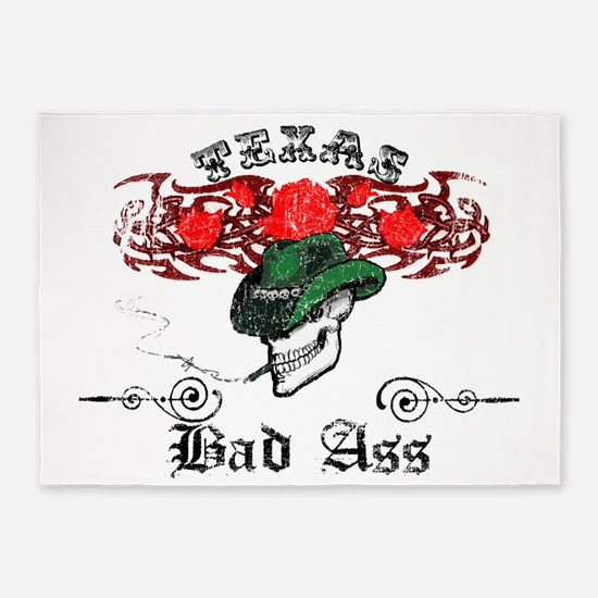 texas badd ass distressed final cop 5'x7'Area Rug