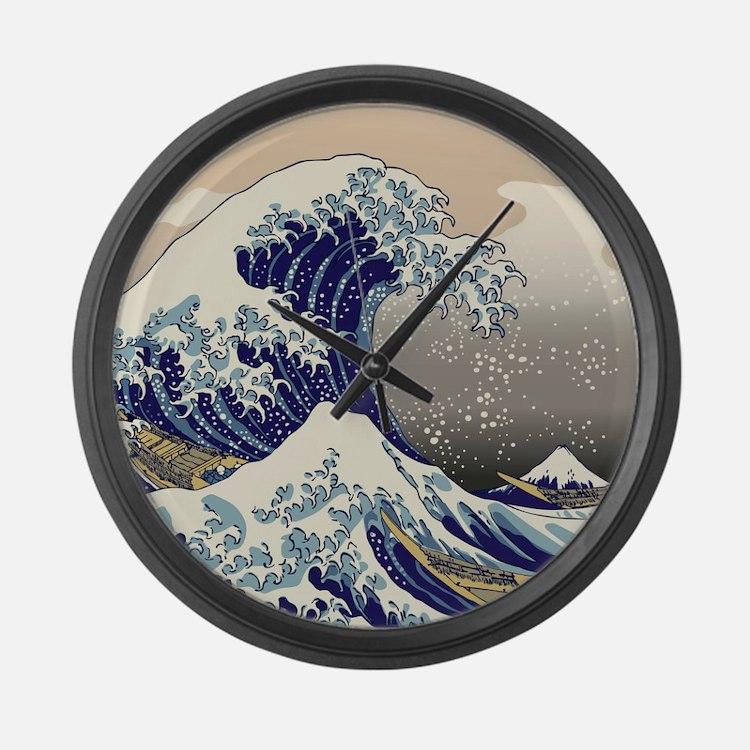Hokusai_Great_WaveKing1 Large Wall Clock