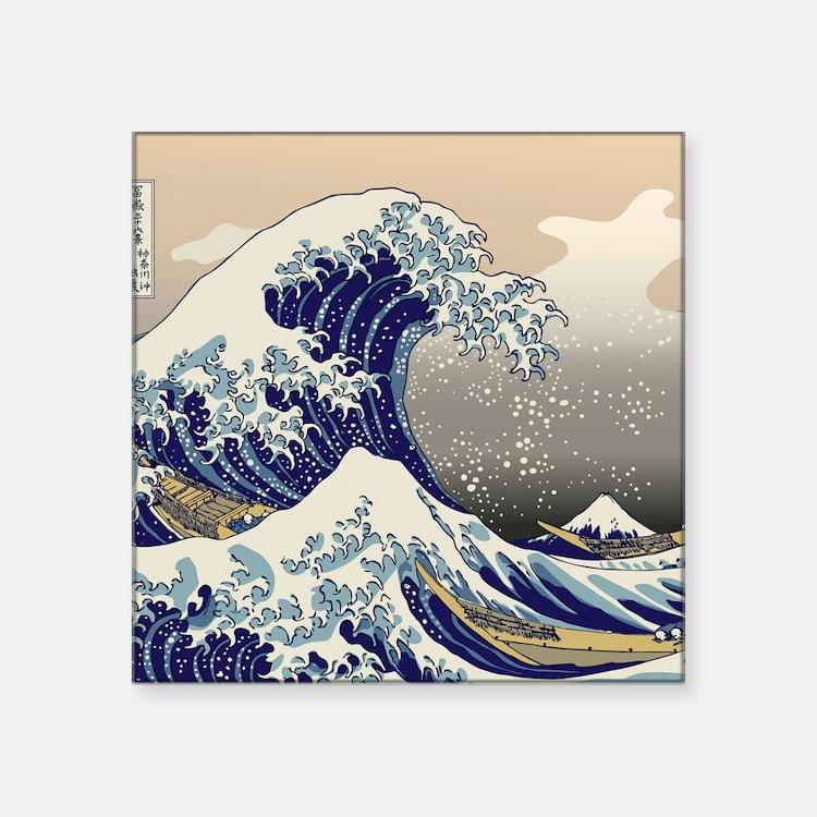 "Hokusai_Great_WaveKing1 Square Sticker 3"" x 3"""